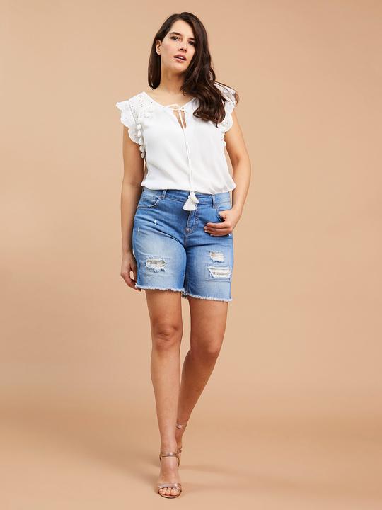b4c009e2c275 Fiorellarubino: Shorts in jeans con strappi Blu_1 ...