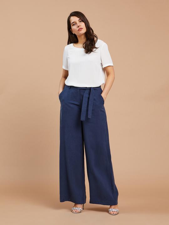 02415081edae Fiorellarubino: Pantaloni ampi con cintura in vita Blu_1 ...