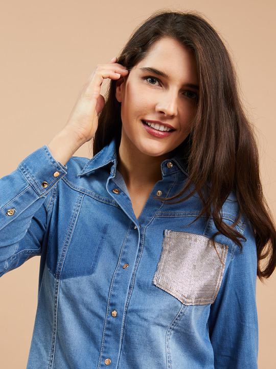 e70ed8a8055670 Fiorellarubino: Camicia con taschino in paillettes Blu_1 ...