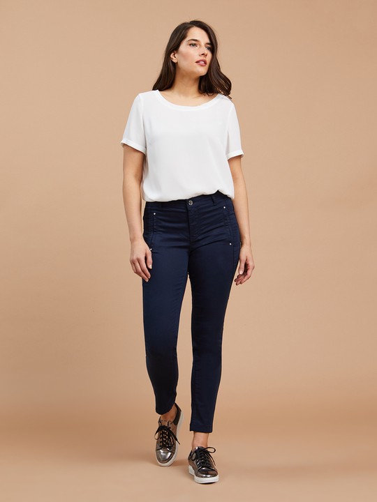 b484b58061b39e Fiorellarubino: Pantaloni skinny in cotone Blu_1 ...
