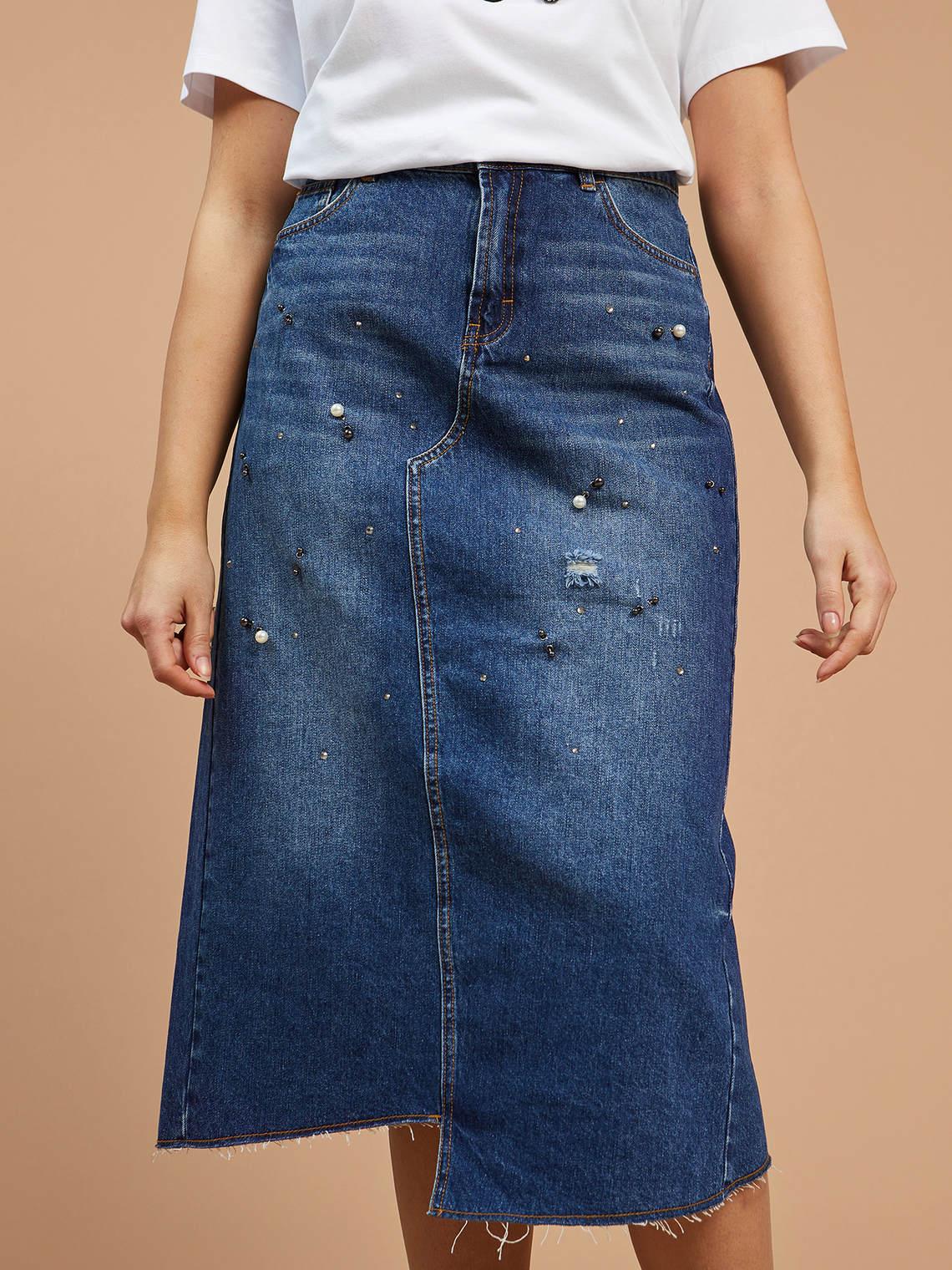 the latest 56fa7 26cde Gonna in jeans con ricamo - FiorellaRubino.com