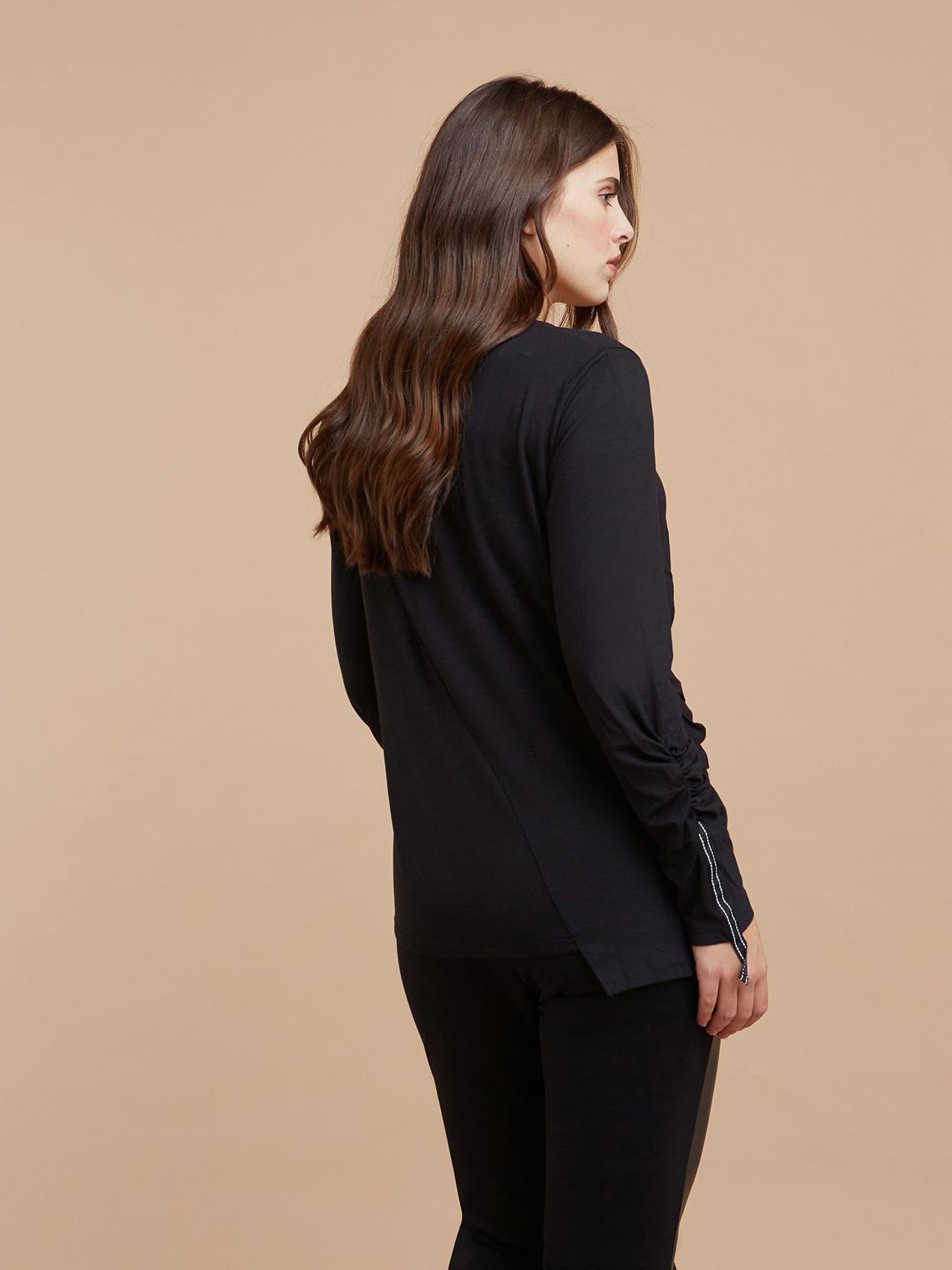 T-Shirt con arricciature e Bordi Fiorella Rubino Italian Plus Size
